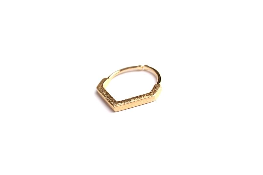 毛絲面厚多角戒指